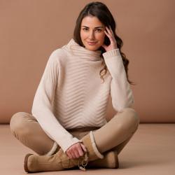 Pull Tunique Chevrons Crème Hawick Knitwear