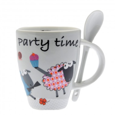 Mug Porcelaine + Cuillère Party Time 250ml