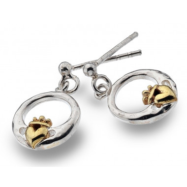 Boucles d'oreilles Argent Claddagh Coeur