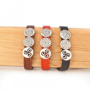 Bracelet 3 Charm Cuff Cuir