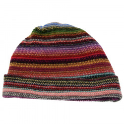 Bonnet Lambswool Rayé Multicolore The Scarf Company