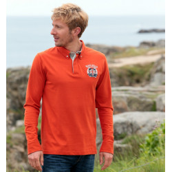 Polo de Rugby Orange Black Wellis