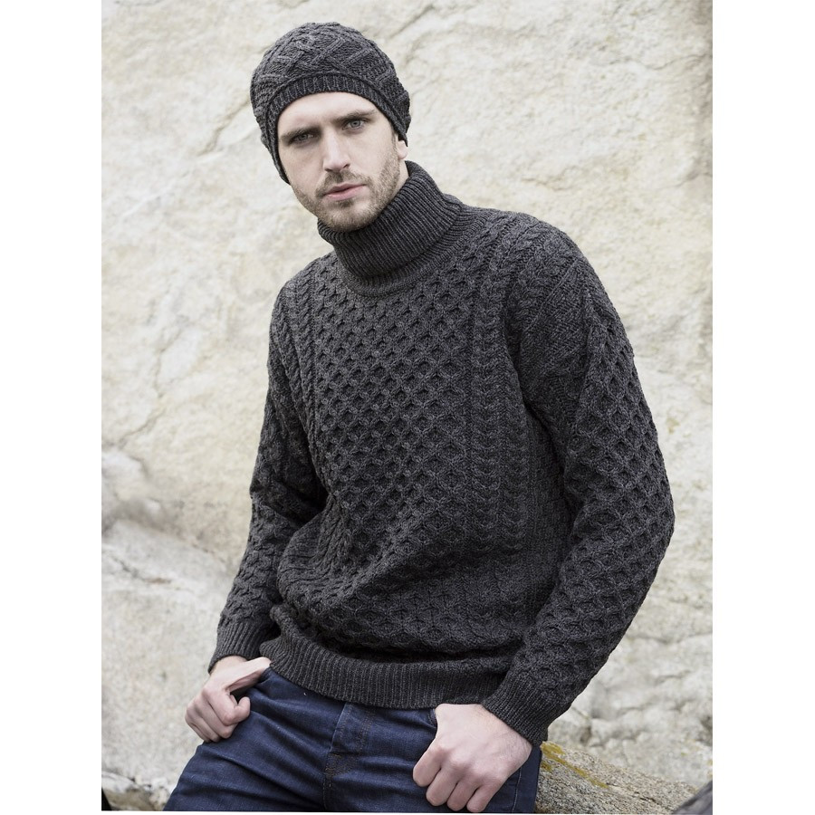 Inis crafts anthracite turtleneck jumper for Inis crafts sweater price