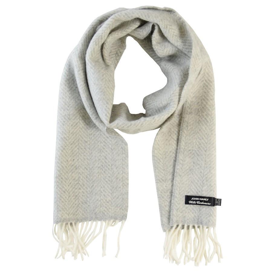 John Hanly Merino Wool   Cashmere Herringbone Scarf 200cm 6444014b1e6