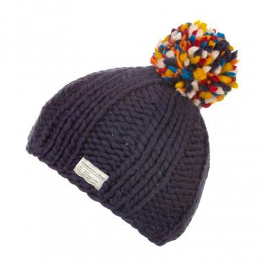 Kusan Dark Blue Hat with Multicoloured Pompom