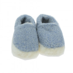 Alwero Light Blue Wool Siberian Slippers