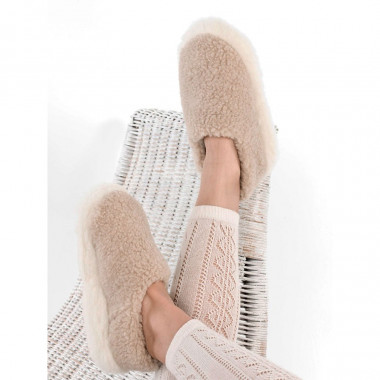 Alwero Beige Wool Siberian Slippers