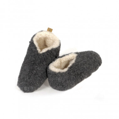 Alwero Grey Wool Skipper Slippers