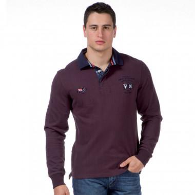 Ruckfield Burgundy Long Sleeves Polo Shirt