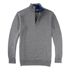 Celtic Alliance Grey High-collar Zipped Lambswool Sweater