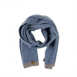 Aran Woollen Mills Blue Butonned Wool Scarf