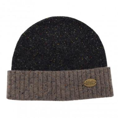 Aran Woollen Mills Anthracite Buttoned Wool Hat