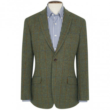 Veste Harris Tweed Stromay Carreaux Olive Brook Taverner