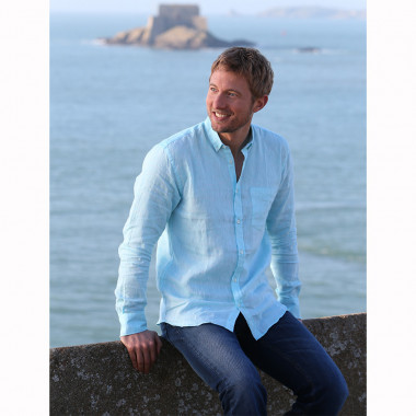 Chemise 100% Lin Turquoise Out Of Ireland