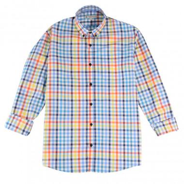Out Of Ireland Vichy Blue Yellow Orange Shirt