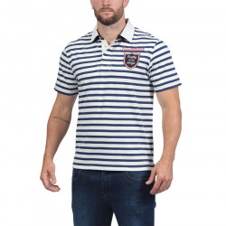 Ruckfield Ecru and Navy Blue Striped Short Sleeves Jersey Polo