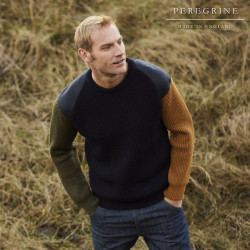 Pull homme cotes anglaises epaules tweed manches contrastees marine peregrine