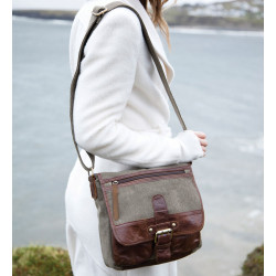 Aran Woollen Mills Leather and Canvas Pouch