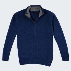 Celtic Alliance Lambswool Dark Blue Cardigan with a Zip