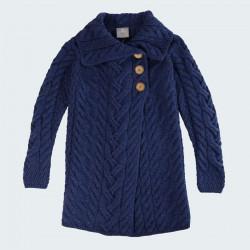 Aran Woollen Mills Long Blue Buttons Jacket