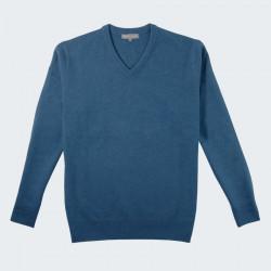 Best Yarn Peacock Blue V Collar Sweater