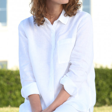Out Of Ireland 100% Linen White Blouse