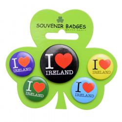 Set 5 Badges I Love Ireland