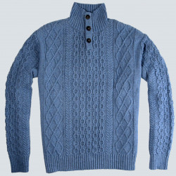 Pull Col Montant Bleu Coton Recyclé Out Of Ireland