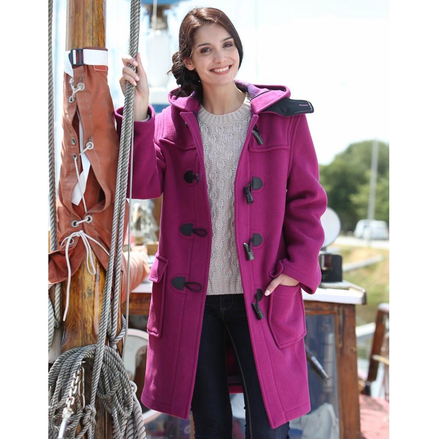 manteau long fushia femme
