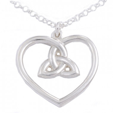 3-Loop Knot Heart Silver Pendant