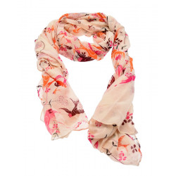 Out Of Ireland Orange & Pink Bird Scarf
