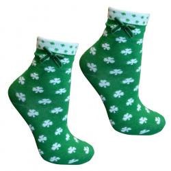 Chaussettes femme vertes trefles blancs