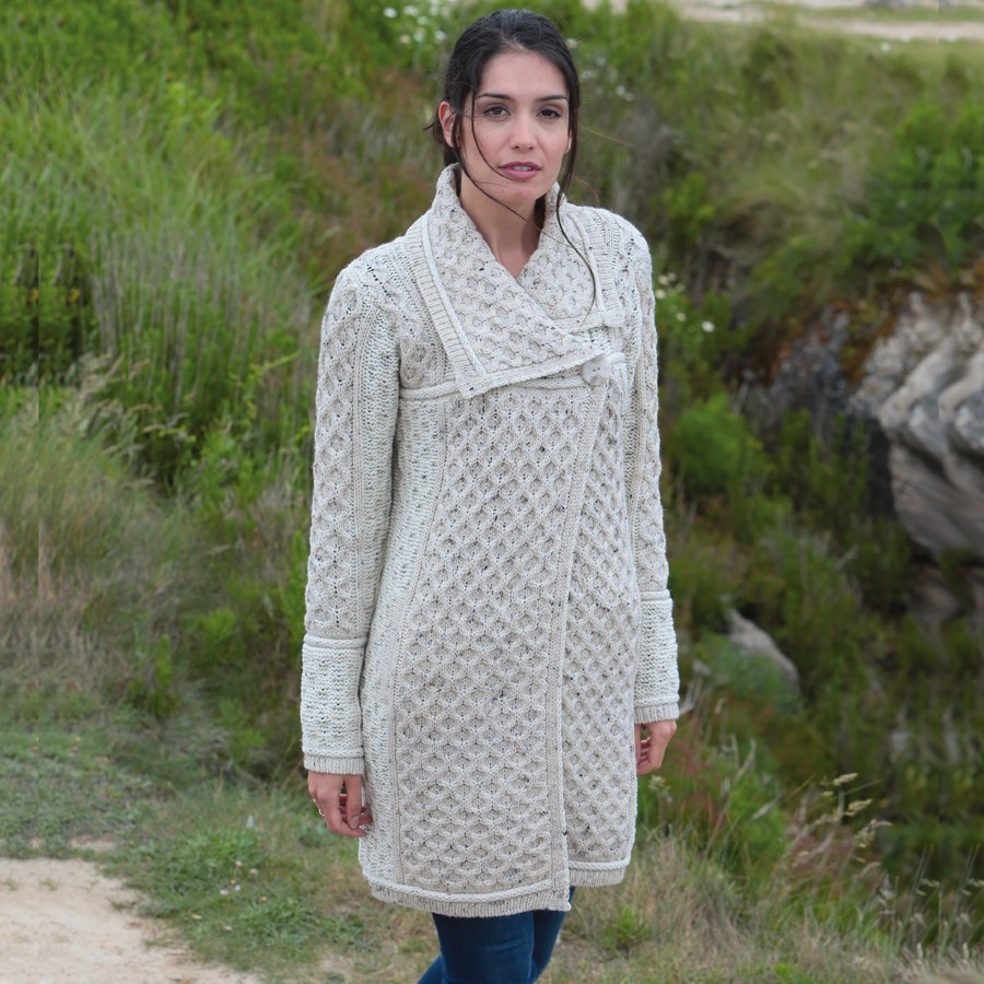 Inis crafts oatmeal cable knit coat for Inis crafts ireland sweater