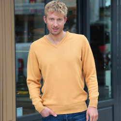 Best Yarn Golden Yellow Pure Lambswool V-Neck Jumper