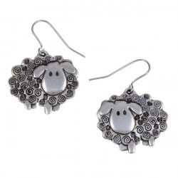 Tin Earrings Swirly Sheep