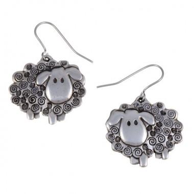 Tin Earrings Swirly Sheep