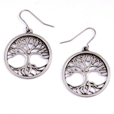 Tree of Life Tin Drop Earrings