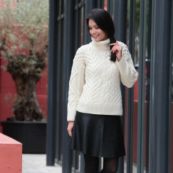 Carraig Donn Ecru Turtleneck Sweater