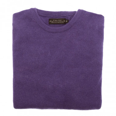 Pull Lambswool Col Rond Parme Foncé Celtic Alliance