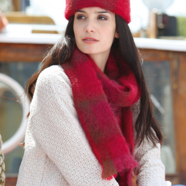 Cushendale Red Brushed Mohair Scarf