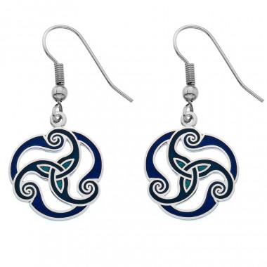 Triskele Blue Enamel Drop Earrings