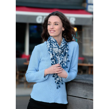 Square Blue Cotton Scarf Out of Ireland