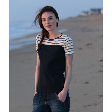 Out Of Ireland Stripped Plastron T-shirt Marine