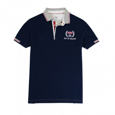 Out Of Ireland Navy Stitched Knit Polo Shirt