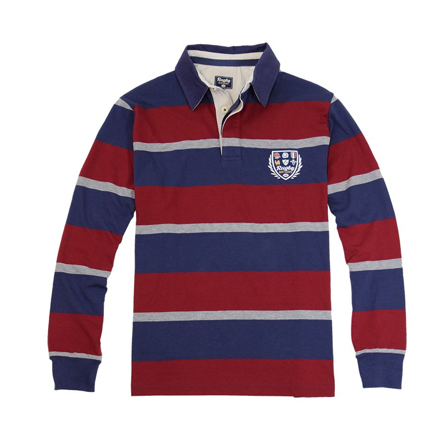 95401f75 Striped Blue and Burgundy Polo Shirt Rugby Nations