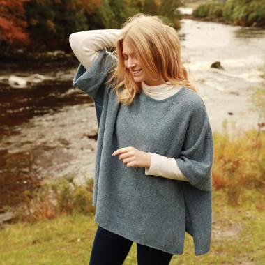 Aran Woollen Mills Blue Cape Sweater