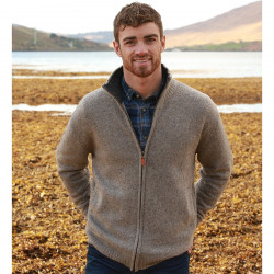 Aran Woollen Mills Grey Wool Zipped Vest