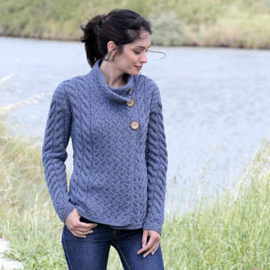 Aran Woollen Mills Blue Cardigan High Collar