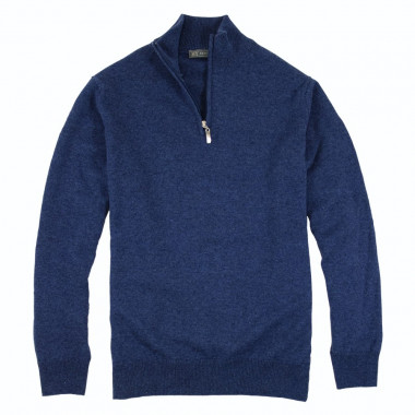 Best Yarn Lambswool Blue 1/2 Zip Jumper