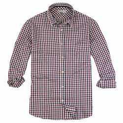 Out of Ireland Gingham Navy & Burgundy Shirt